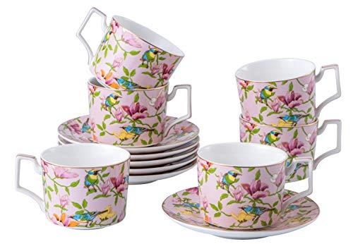 Set of 6 (8.5 oz) Tea Cups and Saucers Set British Tea Set, Floral Tea, Porcelain Tea Cups, Tea Cups for Tea Party, royal tea cup set, British Coffee Cups, China Tea Cups and Saucers Set