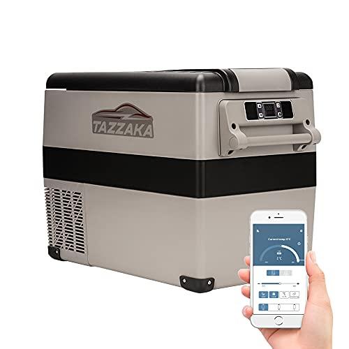 Tazzaka 55 Liter Kompressor Kühlschrank 12V Kühlbox Auto Tragbar Elektrische Gefrierbox Gefrierschrank für Auto, Camping, BBQ, Lkw, Boot, Manuelle und App Steuerung für Android & iOS, -20℃ bis 20℃