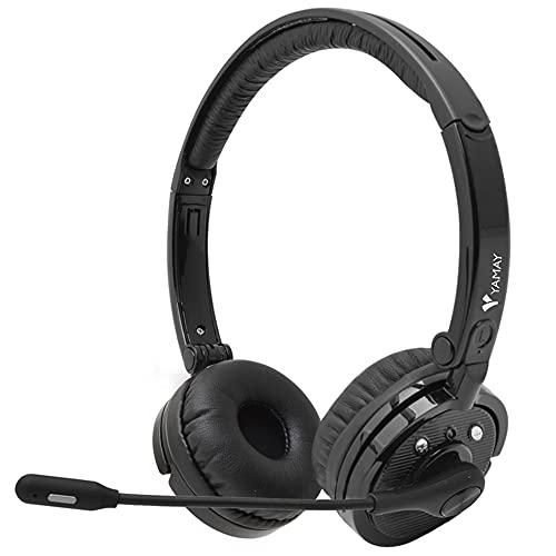YAMAY Cuffie Bluetooth con Microfono Antirumore Muto per PC Cellulare Cuffie Wireless Multipoint per Ufficio Video Conferenza Skype Microsoft Teams Zoom Call Center Cuffie Stereo per Musica Gaming