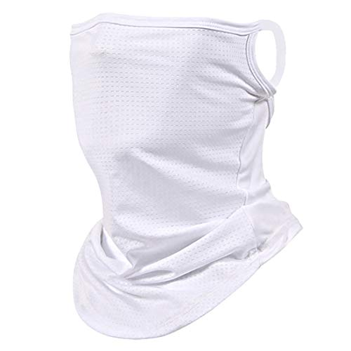Etistta Bandana Face Cover with Ear Loops Neck Gaiters for Men Women Face Scarf Balaclava White