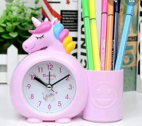 About Home Plastic Unicorn Silent Bedside Alarm Table Clock with Pen Stand for Kids Room (Pink/Blue)