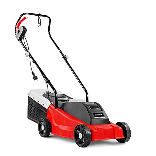 GREENCUT 1000134 Cortacésped eléctrico, 1200W, Ancho 32cm, 3 Alturas Corte, Bolsa 30L, 1400 W, Rojo