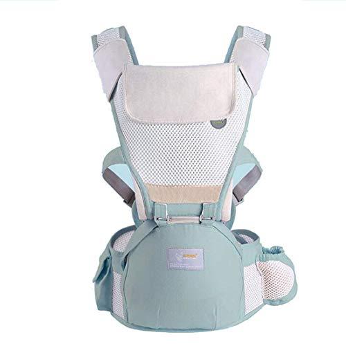Carrinho de bebê Assento quadril ergonômico, frente multifuncional ajustável e mochila, assento removível, toalha de saliva removível, leve e respirável (0-48 meses)