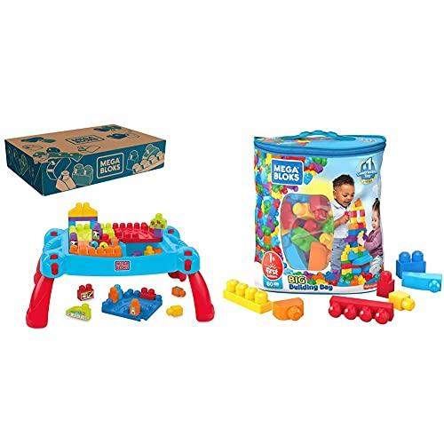 MEGA Bloks Mesa Preescolar 3 en 1, Juguete con Bloques de construcción para bebé +1 año + Bolsa clásica con 80 Bloques de construcción, Juguete para bebé + 1 año Mattel DCH63
