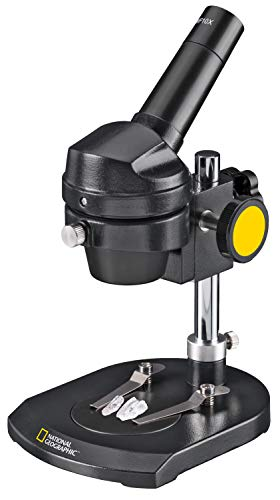 National Geographic Microscope 20x Illumination for observing Stones, Coins, Leaves or Similar Including Two-Tone Object Plate and Sturdy Transport case.