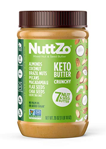 NuttZo KETO Nut Butter Crunchy, 26 Ounce, 7 mixed nuts & seeds, fat bomb, high fat, low carb, paleo, whole30, vegan
