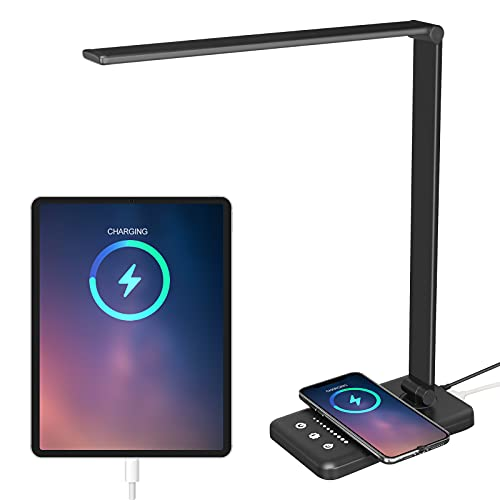 LED Desk Lamp with USB Charging Port - 30/60min Auto Timer Eye-Caring Desk Light with 5 Color Temperature,7 Brightness,Wireless Charger Desk Lamp for Home Office Study,.