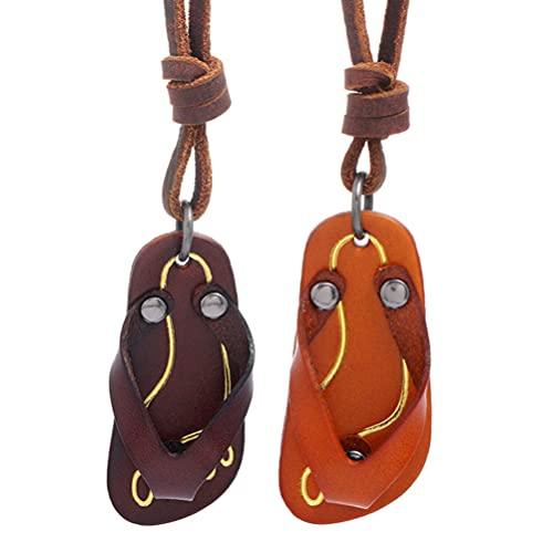 Amosfun 2 collares de piel con colgante de zapatillas, unisex, para hombres y mujeres