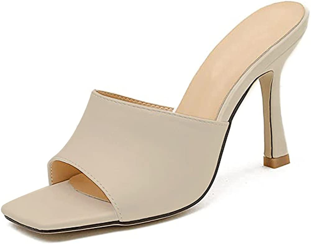 Womens Slide Sandals, Sexy Square Toe Slip On Stiletto High Heels Dress Sandals Slippers
