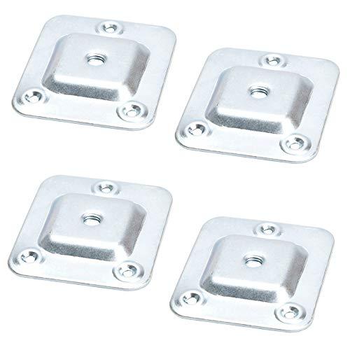 SOTECH 4er Set Montageplatten für Möbelfüße mit M8 Gewinde Möbelfußbeschlag für Ø 4 mm Holzschrauben