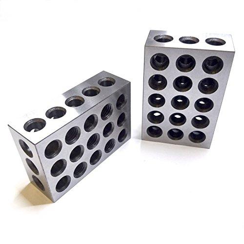Parallelblöcke, metrische 1-2-3 Blöcke (25 x 50 x 75 mm) mit tlw. M10 Gewinde + Holzbox, 1 Paar / 2 Stück
