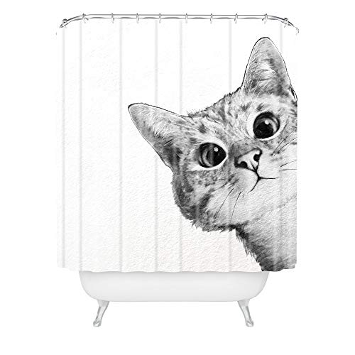 Society6 Laura Graves Sneaky Cat Shower Curtain, 72'x69', Gray