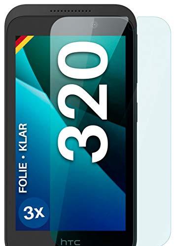 moex Klare Schutzfolie kompatibel mit HTC Desire 320 - Bildschirmfolie kristallklar, HD Bildschirmschutz, dünne Kratzfeste Folie, 3X Stück