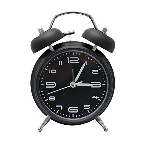 XIAQIU Reloj Despertador de Doble Campana, 4 Pulgadas Analógico Despertador de Cuarzo Silencioso Sin Tictac, Vintage Despertador con Luz de Noche para durmientes Pesados (Negro)