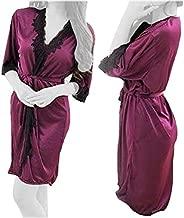 Lingerie Silk Robe Lace Perspective Dress, Sleepwear, One Size - Purple