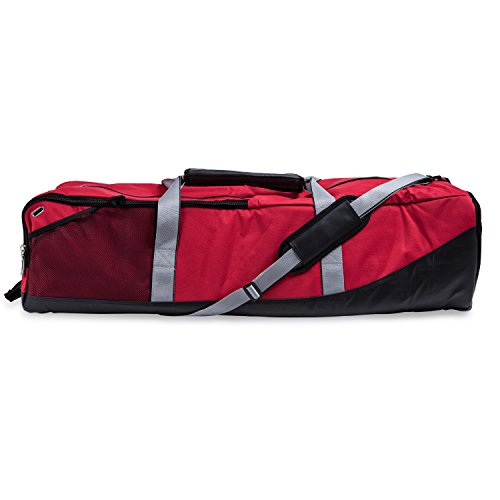 Champion Sports Lacrosse Equipment Bag: Duffel Sports Bag for Mens & Womens, Girls & Boys Gear - Red