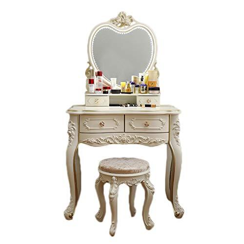 Silk Road YX Dressing Table Weißer Schminktisch, Herzspiegel/Ovaler Spiegel & Hocker-Set (4 Schubladen) Schlafzimmer Make-up Schreibtisch Kommode Waschtisch