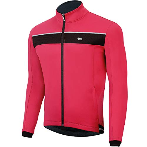Souke Sports Men's Winter Warm Cycling Jacket Windproof Running Water Resistant Thermal Breathable Softshell Windbreaker Reflective for Bike Riding Red(Red,Medium)