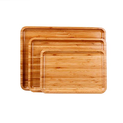 Holz einfachen Haushaltsrechtwinkeligen Tablett Teller Multifunktions- Tablett Bambus Seitendruck Massivholz Teebehälter (1 Satz von 3)