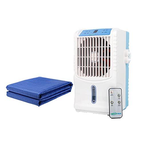 Luftkonditioneringsfläkt Med Kylmadrass/Kylplatta, Fjärrkontroll Och Engelsk Panel, Kylvattencykel För Sommarbäddar Och Kontor,Blue-160x70cm