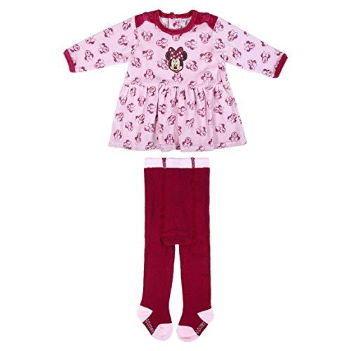 CERDÁ LIFE'S LITTLE MOMENTS 2200006148_T09M-C70 Conjunto Vestido y Letardos Recien Nacido de Minnie, Rosa, 9 Meses para Bebés