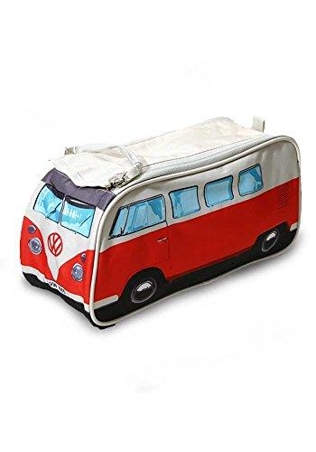 VW Bulli Kulturbeutel rot mit Innenfächern - robuste Kosmetiktasche, Waschbeutel, Kulturtasche, Washbag (31 x 15 x 11 cm)