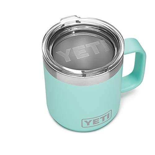 yeti insulated drink mugs YETI Rambler 10 oz Stackable Mug, Stainless Steel, Vacuum Insulated with Standard Lid, Seafoam