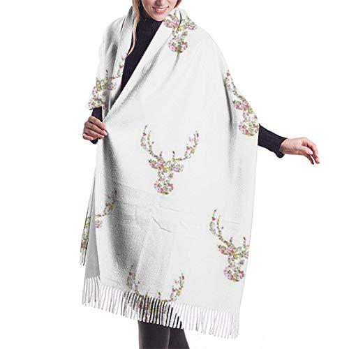 Giles John Winter Schal Damen Warm Baumwolle Rosa weißer Blumenhirschkopf Pashmina Schals mit Quasten/Fransen