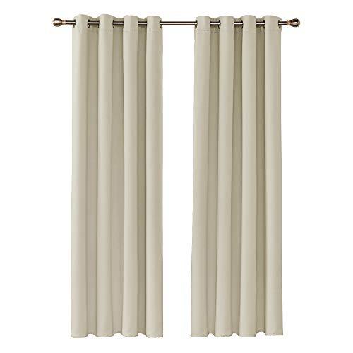 UMI. Essentials 2 Schals Verdunklungsvorhang Blickdicht Vorhänge Gardinen mit Ösen 140x260 cm Beige