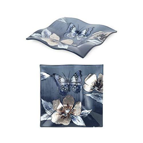 CAPRILO. Set de 2 Platos Decorativos de Cristal Flores-Mariposas Vajillas y Cuberterías....