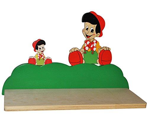 alles-meine.de GmbH Wandregal aus massiven Holz - Pinocchio - Kleiner Junge - Kinderzimmer Wandboard - Tiere - für Kinder Kinderregal / Bücherregal / Hängeregal / Regal Tier - Hu..