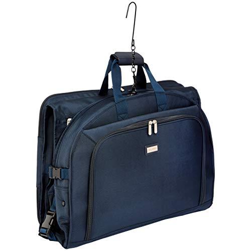 AmazonBasics Premium Tri-Fold Travel Hanging Garment Bag - 22.5 Inch, Blue