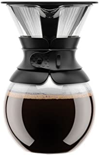 Bodum Pour Over Coffee Maker with Permanent Filter, 1 Liter, 34 Ounce, Black Band (Renewed)