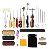 Herramientas 17pcs / set de piel arte de la mano de costura Kit de costura hueco punzón de piel aguja Tijeras dedal cunas a mano las herramientas del conjunto