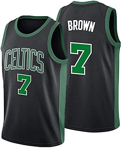ASKI Versión De La Ciudad De Basketball De Baloncesto para Hombre Jersey Boston Celtic Equipo 7# Jaylen Brown Comfort/Ligero/Transpirable Bordado Malla Sudadera, 5, S, 3 - XL