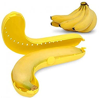 Banana Keeper - Banana Protector - Banana Saver - 2 Yellow Banana Savers - Banana Case for all size Bananas (Set of 2)