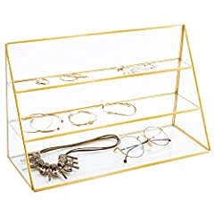 CHIC JEWELRY DISPLAY: Tabletop 3-tier jewelry stand in glass and gold-tone metal for home or retail display. MODERN-VINTAGE FLAIR: Geometric design and antique bronze finish combine modern and vintage elements. EFFICIENT DESIGN: Multilevel design pro...