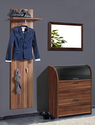 expendio Garderoben Set Ottawa 3 TLG nussbaum Dekor Paneel Schuhschrank Spiegel Wandpaneel Schrank Wandspiegel Garderobe