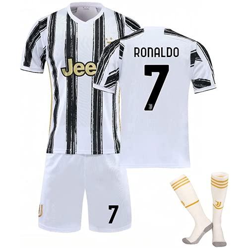 Camiseta de fútbol, 2021 Cristiano Ronaldo Home Stadium No. 7 C Camiseta R.O.N.A.L.D.O Camiseta de entrenamiento de fútbol para niños con calcetines Camiseta de fútbol para adultos, Blanco y negro S
