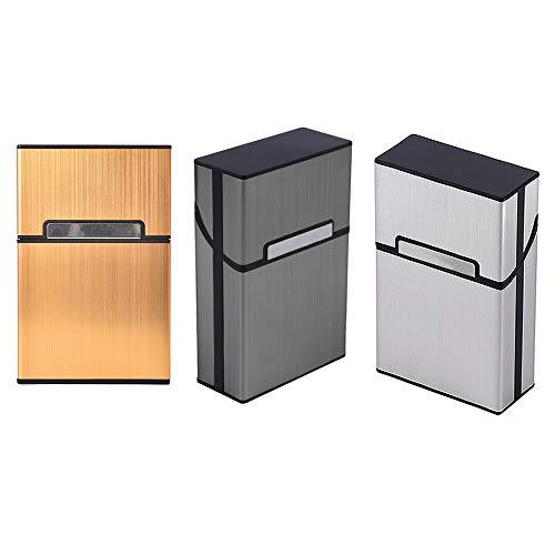 WSERE Set of 3 Men Cigarette Case Crushproof Scratch Resistant Cigarette Hard Case, Gold Silver Gray Storage Case for Cigarettes