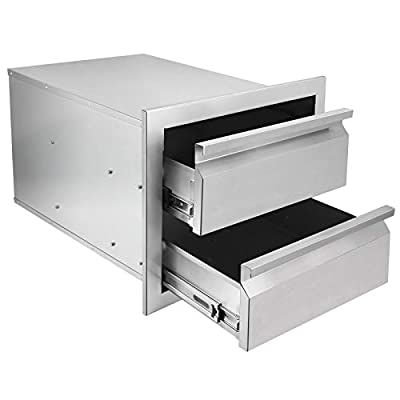 Seeutek Outdoor Kitchen Drawers Stainless Steel 14.7 x 23.2X 17.8 inch Flush Mount Barbecue Drawers Triple Layer Access Storage Drawers for Outdoor Kitchen or BBQ Island Patio Grill Station