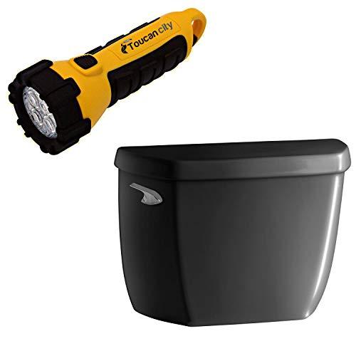 Toucan City LED Flashlight and KOHLER Wellworth Classic 1.0 GPF Single F Toilet Tank Only in Black Black K-5307-7