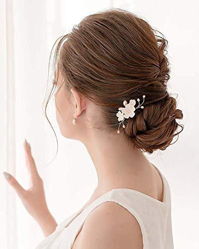 Edary Braut Hochzeit Haarnadeln Silber Blume Braut Haarteile Hochzeit Rosa Perle Haarschmuck Braut Haarspangen für Frauen und Mädchen