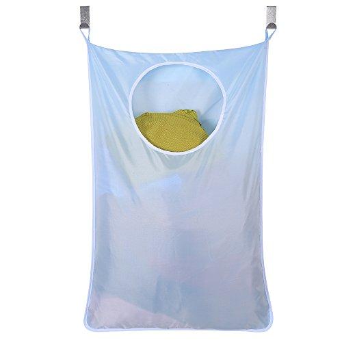 Bolsa de tela Oxford para ropa sucia que se cuelga en las puertas y se ahorra espacio + 2 ganchos de acero inoxidable + 2 ventosas, para dormitorio, cuarto del bebé residencia de estudiantes