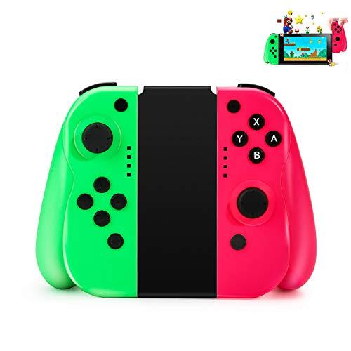 Controlador inalámbrico Powcan para Nintendo Switch Mini Switch Controlador (L/R) Joypad Gamepad Joystick Joystick Compatible con Switch - Rojo (R) y Azul (L), Soporte Conexión por cable (Verde rojo)