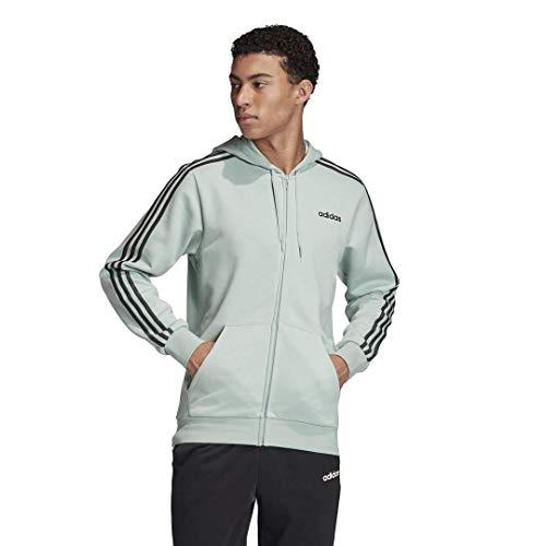 adidas mens Essentials 3-Stripes Regular Fit Training Fleece Track Top Sweatshirt Green Tint/Dgh Solid Gray XX-Large