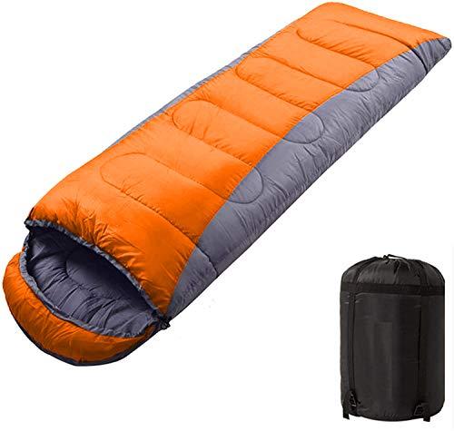 Vabogu Camping Sleeping Bag - 4 Seasons Winter, Fall, Spring, Summer, Indoor Outdoor Use, Lightweight & Waterproof for Adults & Kids Camping, Backpacking (Gray Orange, 3.52 ib)