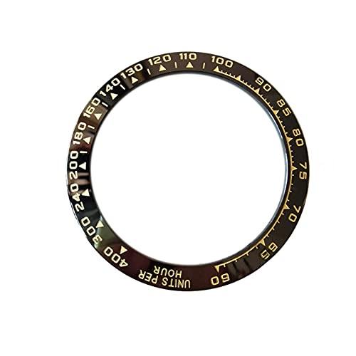MINGYUYUYY 38. 5MM Reloj de cerámica Bezel Fit para Cosmograph Daytona Hombre Reloj Face Diámetro Interno 30. 5MM Accesorios de reemplazo de Daytona. (Color : Black)