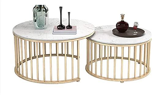 Mesa de centro Mesa de centro Mesa auxiliar de tablas anidadas redonda mesa de centro de mármol en el hogar sala de estar balcón estructura metálica y espacio de oficina pequeña Tablas de café pequeña