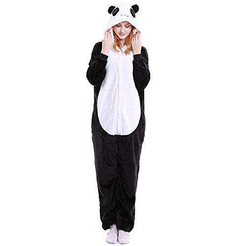 LSERVER Disfraz de Cosplay para Adultos Traje de Unisexo Pijama de Franela de Otoño e Invierno Estilo de Animales, Oso Panda, M (158-167cm)